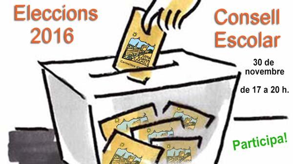 Imatge del cartell de les eleccions al Consell Escolar 2016